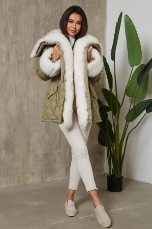 Женское зимнее пальто с мехом песца серое